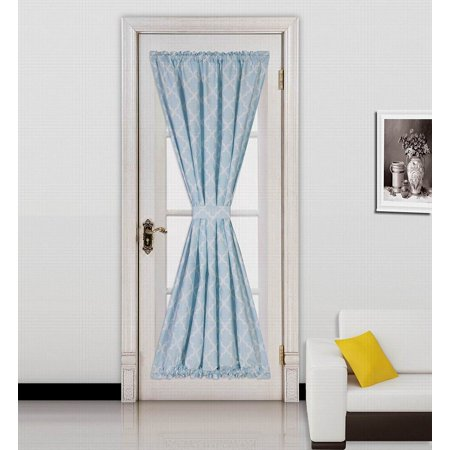 "ELLA LIGHT BLUE -WHITE 2 Tone Color 1pc French Door 55""W x 72""L Foam Backing Insulated Thermal Blackout Rod Pocket Curtain Panel with matching 1 Tieback"