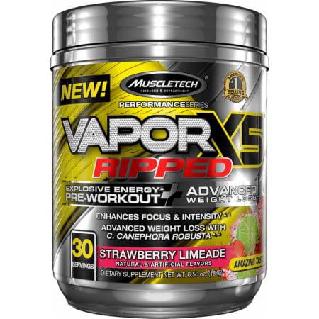 MuscleTech Vapor X5 Ripped, Explosive Energy Pre Workout Powder, Strawberry Limeade, 30 Servings ()
