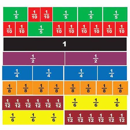 School Smart Magnetic Fraction Tiles, Multiple Colors, 51pk