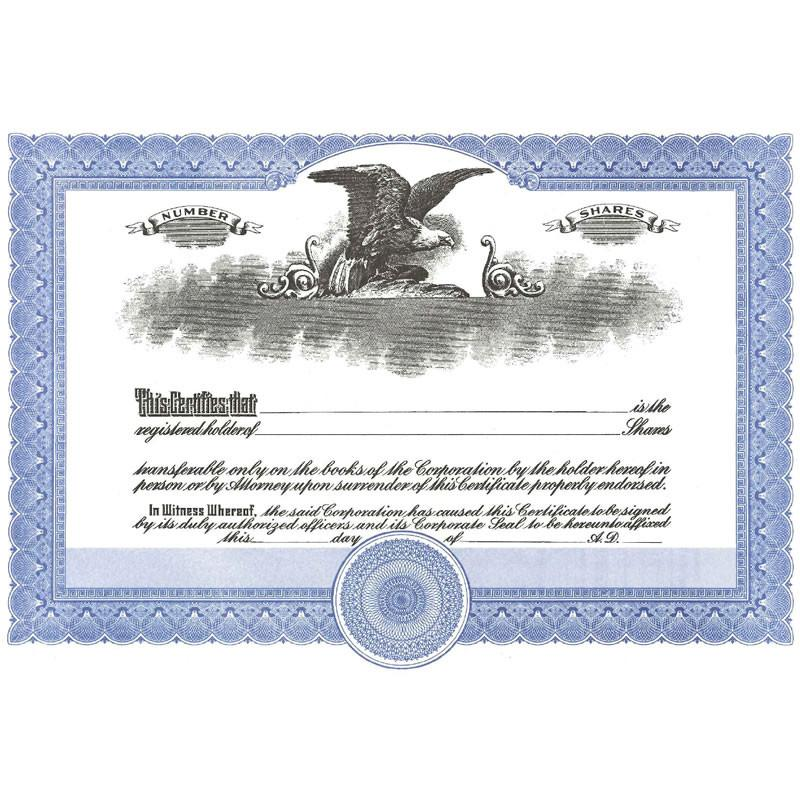 Short Form Blue Stock Certificate - Pack of 25