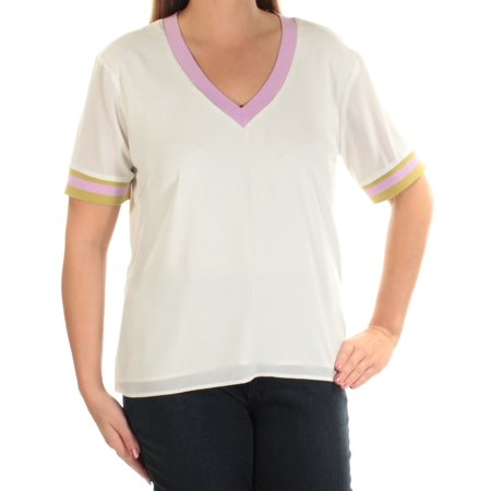 CYNTHIA ROWLEY Ivory Short Sleeve V Neck Top  Size: (Cynthia Rowley Designer)