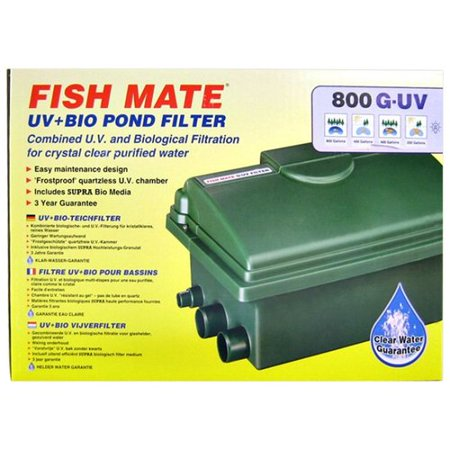 Fish mate gravity uv bio pond filter 8 watt uv 500 gph for 100 gallon pond filter