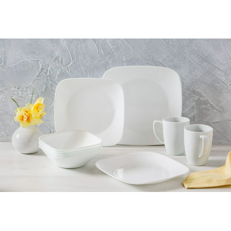 China Platinum Dinnerware Set (Corelle Square Pure White Dinnerware Set, 16 Piece)