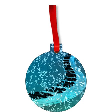 Musical Piano and Notes Round Shaped Flat Hardboard Christmas Ornament Tree Decoration - Unique Modern Novelty Tree Décor Favors](Musical Notes Decorations)