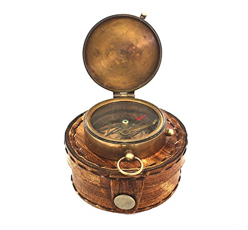 Navigational Compass Marine Brass Compass with Orange Leather Classic Case