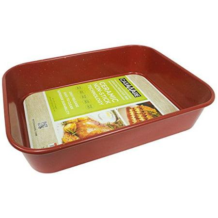 casaWare Ceramic Coated NonStick Lasagna/Roaster Pan 13 x 10 x 3-Inch (Red