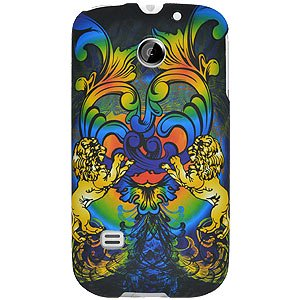 Rubberized Protector Back Case Slim Designed Snap On Cover for Huawei Summit U8651, Huawei Prism U8651, Huawei Ascend II M865 - Rainbow Lion Sculpture