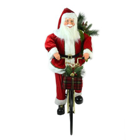 """42"""" Traditional Santa Claus Riding a Bicycle Commercial Christmas Decoration - image 1 de 2"""