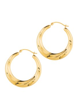 14k Yellow Gold 25mm X3mm Round Hoop Earrings