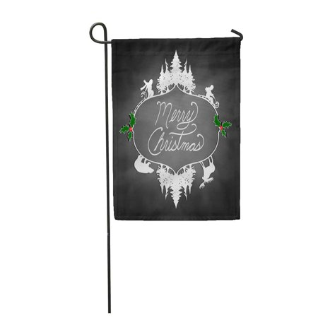 KDAGR Beautiful Christmas Cutout Silhouette of Trees Kids Sledding Bear Garden Flag Decorative Flag House Banner 28x40 inch