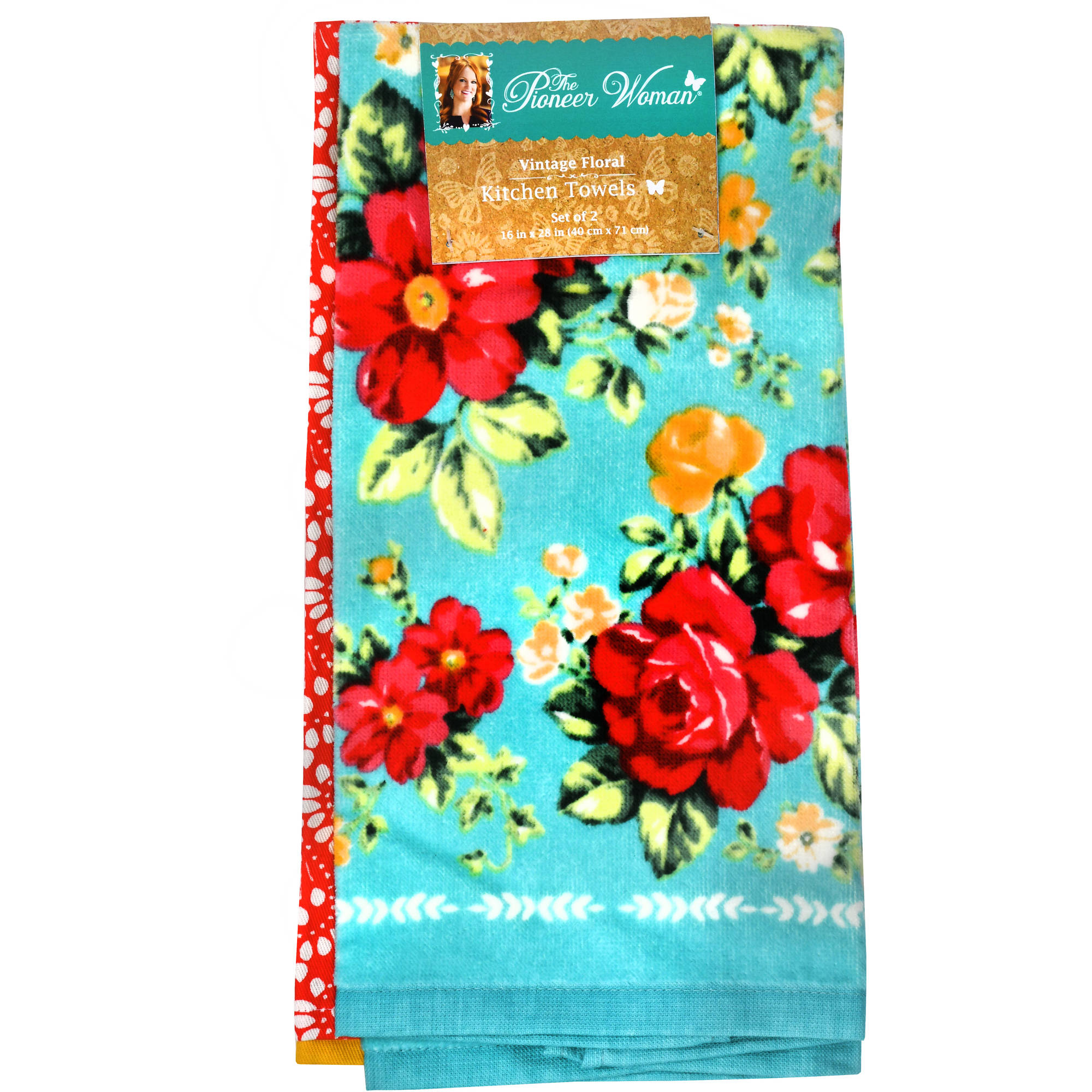 Beau The Pioneer Woman, Vintage Floral 2pk Kitchen Towel Set   Walmart.com