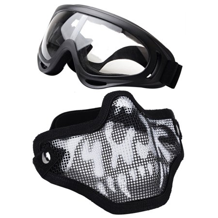 Airsoft Gas Goggles (Black Steel Mesh Half Face Skull Mask with X400 UV Goggles Airsoft)