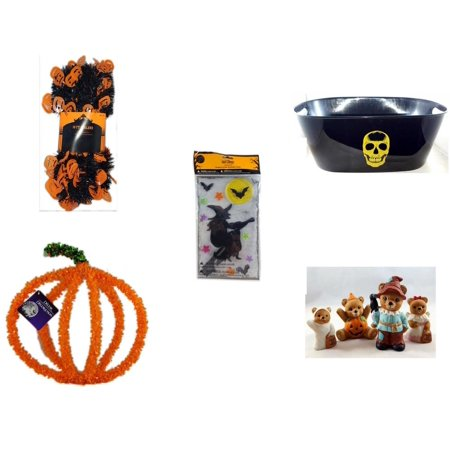 Halloween Fun Gift Bundle [5 Piece] -  Black & Orange Pumpkin Garland 10 ft. - Black With Skeleton Oval Party Tub - Gel Clings Witch, Bats, Stars -  Pumpkin Plastic on Wire Decoration - Homco  Set N