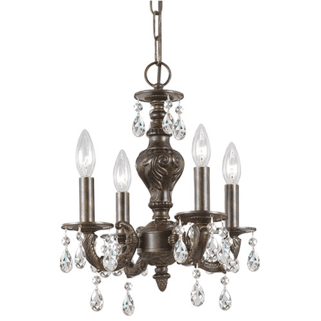 Mini Chandeliers 4 Light With Venetian Bronze Clear Hand Cut Crystal Wrought Iron 14 inch 240 Watts - World of Lighting