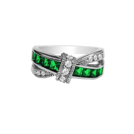 Emerald Cut Glass - Emerald Princess Cut Crossover Love Knot Ring
