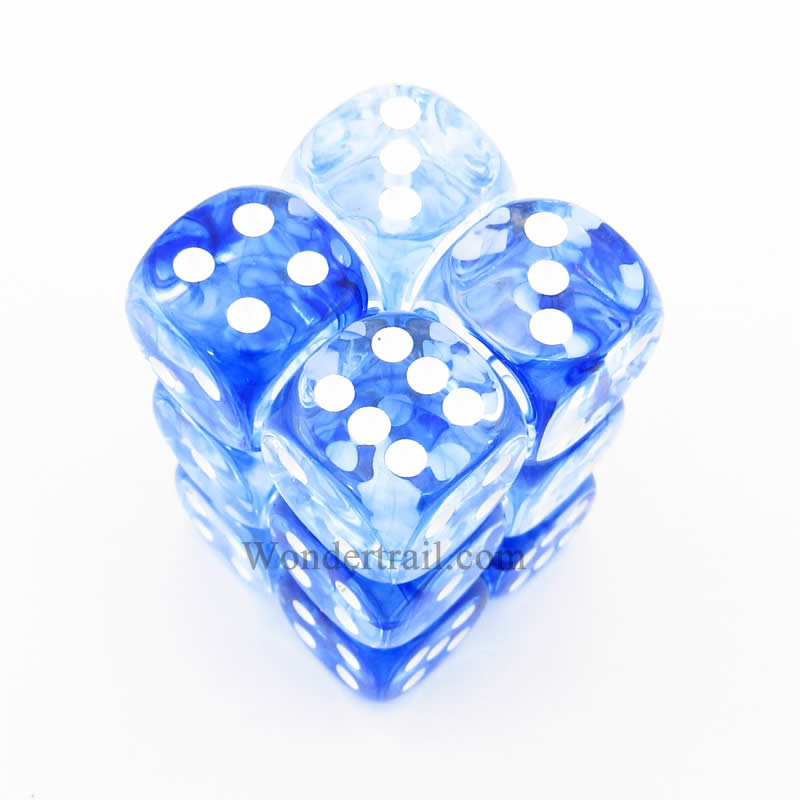 Dark Blue Nebula Dice with White Pips D6 16mm (5/8in) Pack of 12 Chessex