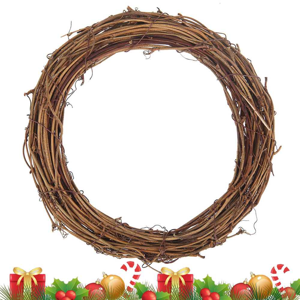 Christmas LED Light Artificial Vine Ring Wreath Rattan Wicker Garland Xmas Party
