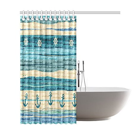 GCKG Nautical Sea Ocean Shower Curtain, Vintage Anchor Blue Polyester Fabric Shower Curtain Bathroom Sets 66x72 Inches - image 1 of 3