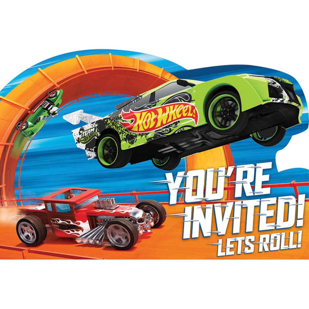 Hot Wheels Wild Racer Postcard Birthday Party Invitations (8 Count) - Party Supplies