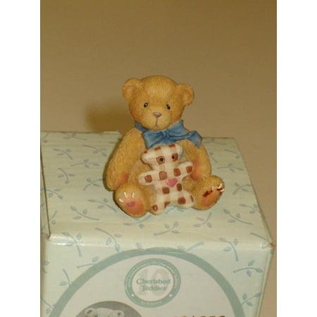 (Tiny Treasured Teddies) Bear w/ Toy Mini Figurine, By Cherished Teddies Enesco Cherished Teddies Bear