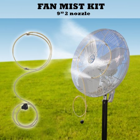 Fan Misting System - - 9'' Fan Mist Ring with 2 Nozzles - Recommended for fans with 10-12'' - Multi Fan Nozzle