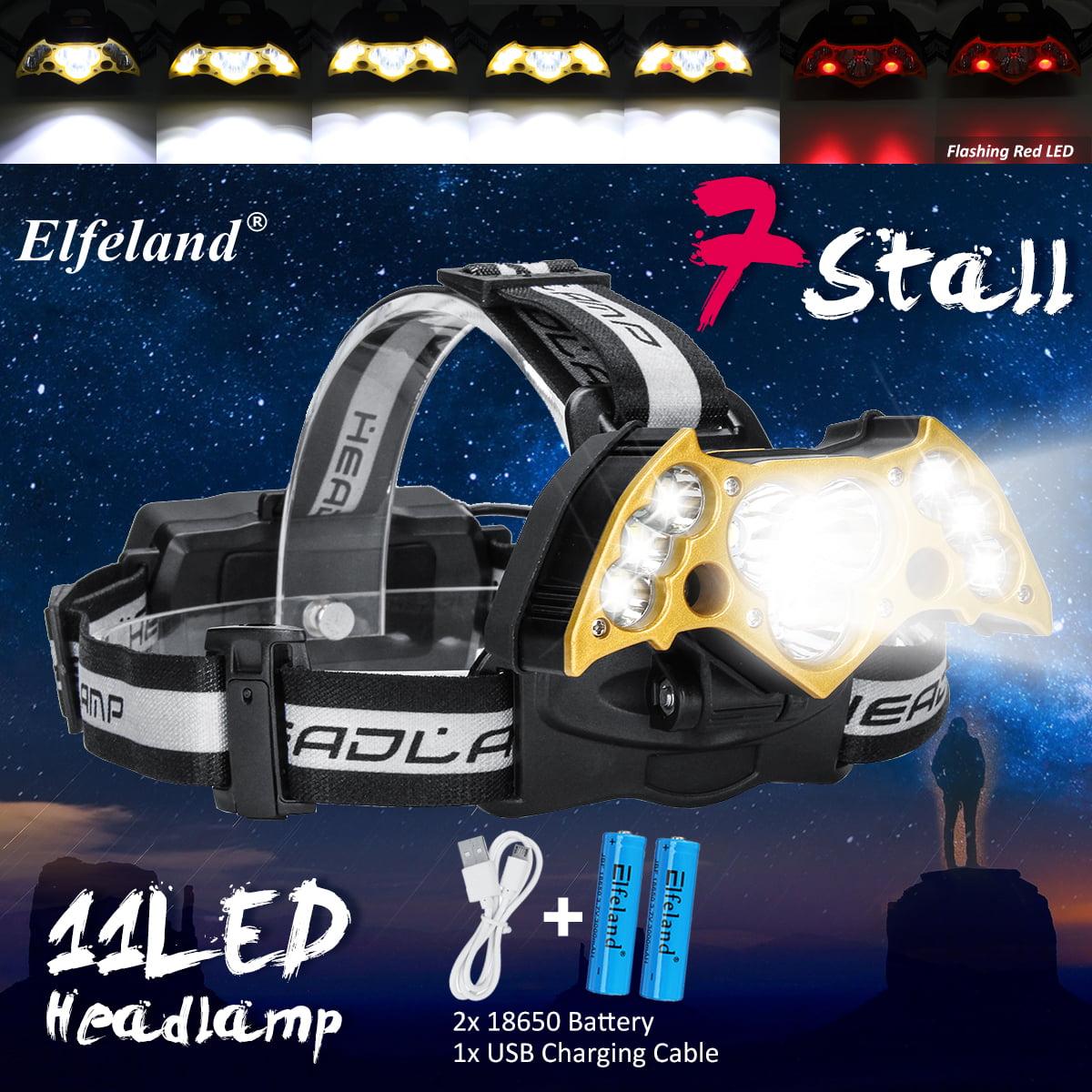 Elfeland 6000Lumens 11x T6 LED USB Headlamp Headlight Flashlight Torch + 2Pcs 18650 Battery + USB Cable For Fishing Camping Hiking