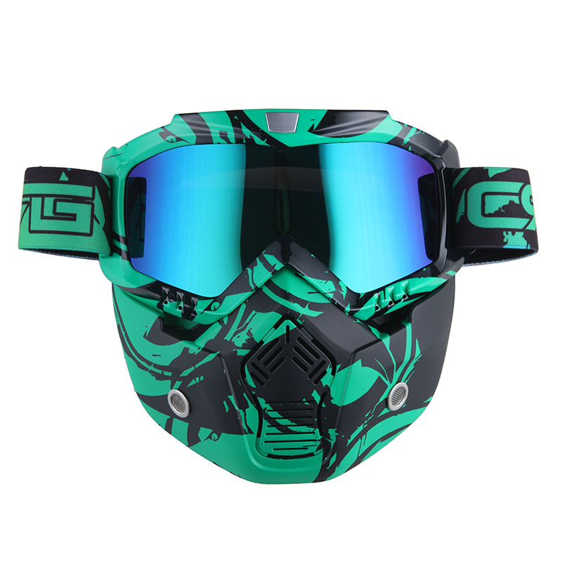 Motorcycle Goggles Mask, Detachable for Motocross Helmet Goggles use, Tactical Airsoft Goggles Mask: Eagle Green with... by