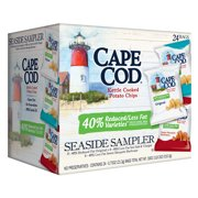 Cape Cod Reduced Fat Kettle Cooked Potato Chips Variety Pack Seaside Sampler, 24 Ct