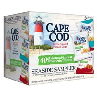 Cape Cod Reduced Fat Variety Pack, Kettle Cooked Potato Chips Seaside Sampler, 0.75 Oz, 24 Ct
