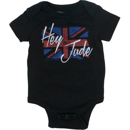 The Beatles Newborn Baby Boys' Rock Band Bodysuit - Hey Jude, Black (6 Months)](Shiny Black Bodysuit)