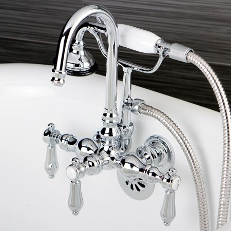 Kingston Brass Bathtub Wall-Mount Claw Foot Tub Filler with Handshower in Polished Chrome