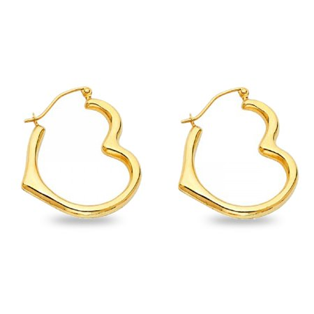 Solid 14k Yellow Gold Heart Hoops Earrings French Lock Closure Polished Finish Genuine 25 x 4 mm 4in 14k White Gold Hoop