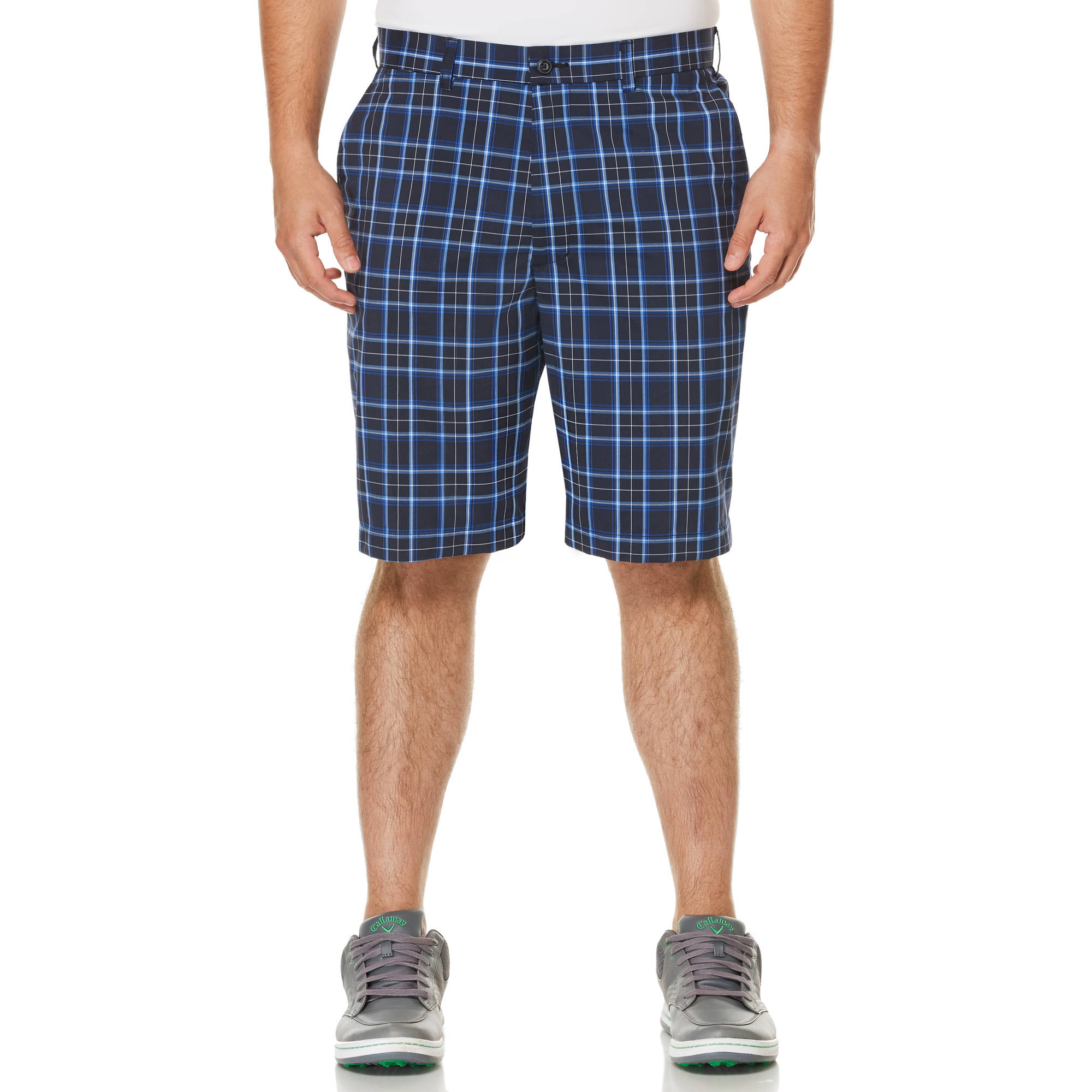 Ben Hogan Men's Flat Front Medium Scale Plaid Golf Shorts