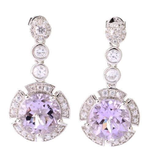 Dallas Prince  Sterling Silver Amethyst White Zircon Halo Drop Earrings