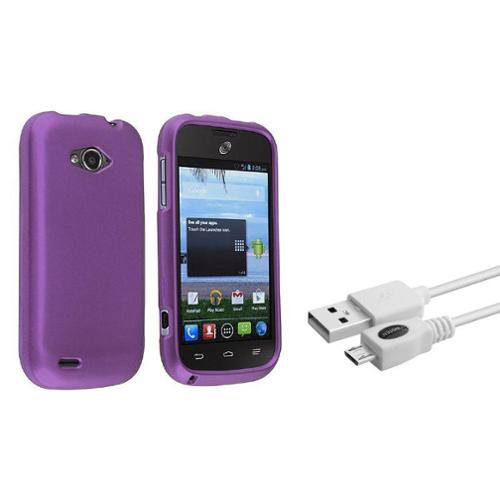 Insten For ZTE Savvy Z750c StraightTalk Rubberized Case Cover Purple RP (with Free USB cable)