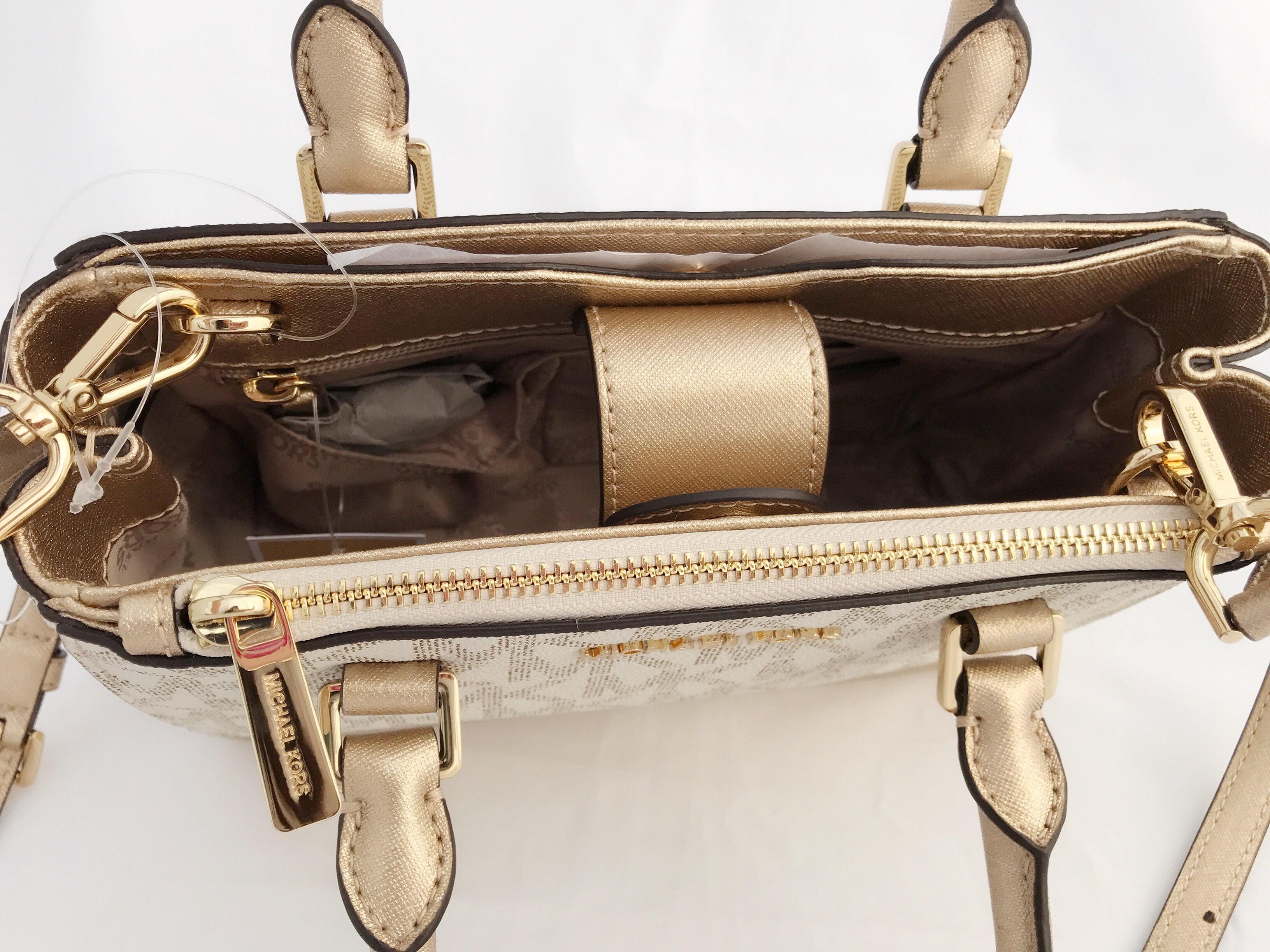 ac7f3aa85a6f8f Michael Kors - Michael Kors Kellen XS Satchel Vanilla MK Signature Gold  Small Crossbody Bag - Walmart.com
