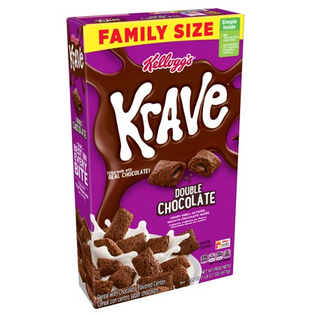 Kellogg's Krave Breakfast Cereal Double Chocolate Family Size 16.7 oz
