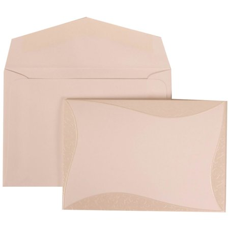 JAM Paper Wedding Invitation Set, Small 4 7/8 x 3 3/8, White Card with White Envelope and Mulberry Curved Border Set, 50/pack