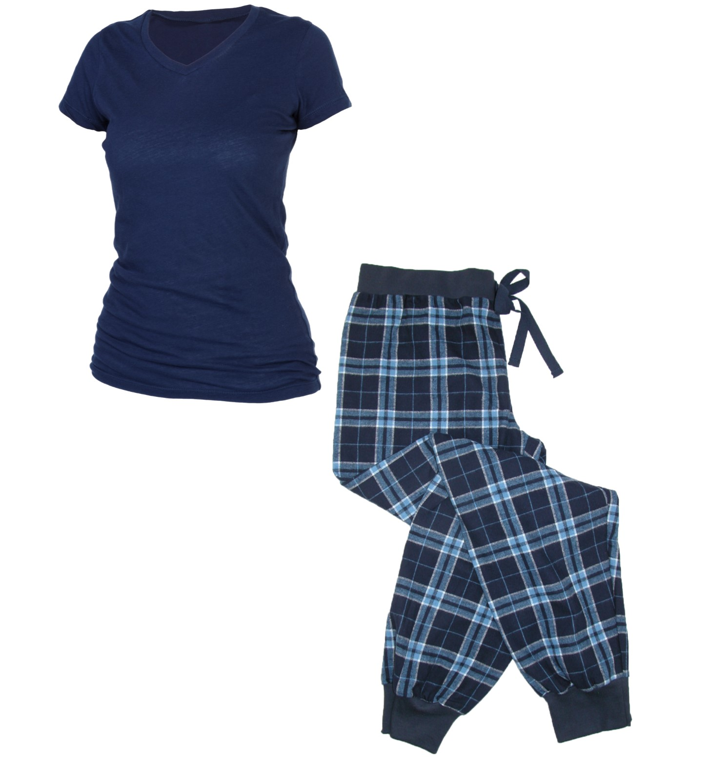 Womens Flannel Jogger Pants and Short Sleeve Tee Shirt Set