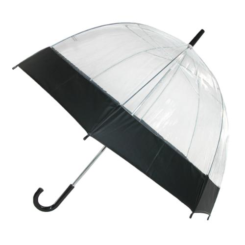 iRain  Unisex Clear Bubble Dome with Colored Trim Hook Handle Umbrella, Black Trim