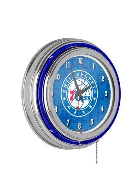 NBA Chrome Double Rung Neon Clock - City - Philadelphia 76ers