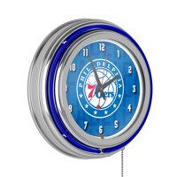 NBA Chrome Double Rung Neon Clock - City - Philadelphia 76ers