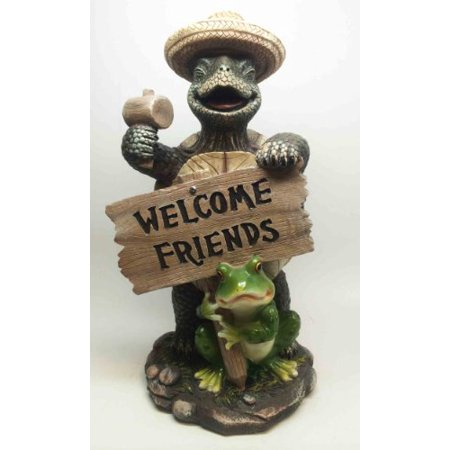 DWK WELCOME FRIENDS JOY TURTLE WITH HAMMER AND TOAD SCULPTURE GARDEN STATUE ()