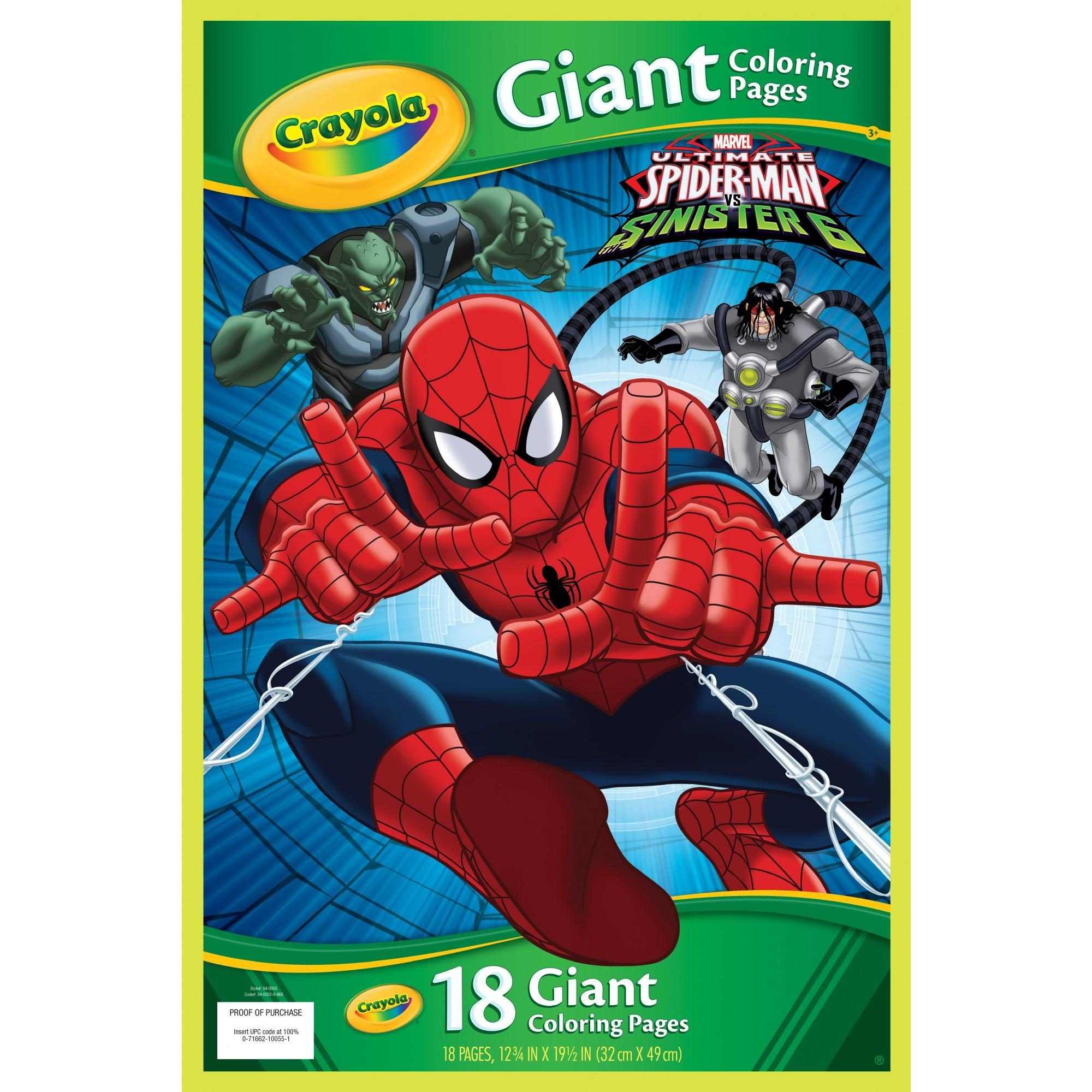 Crayola Giant Coloring Pages Featuring Spiderman 18 Pages