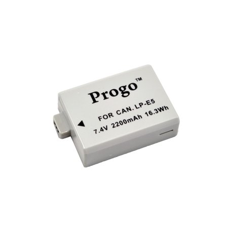 Progo High Capacity Rechargeable Battery For Canon LP-E5, Canon EOS Rebel XS, Rebel T1i, Rebel XSi, 1000D, 500D, 450D, Kiss X3, Kiss X2, Kiss F