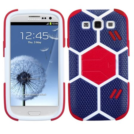 Insten Sapphire Blue/Red Goalkeeper Hybrid Soft Hard Case (with Red Stand) For SAMSUNG Galaxy S III (Best Music App For Samsung Galaxy S3)