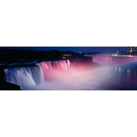 High angle view of a waterfall at night Niagara Falls New York State USA Canvas Art - Panoramic Images (36 x 12)