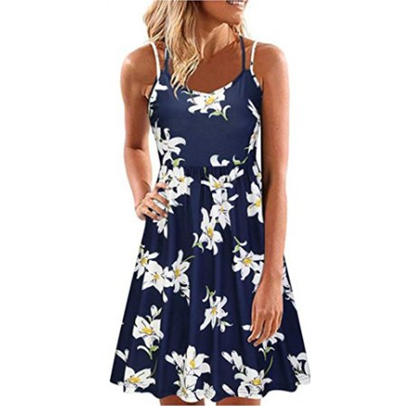 Women Vintage Sleeveless Floral Boho Beach Tunic Tank Short Mini Dress (Mini Vintage Tunic)