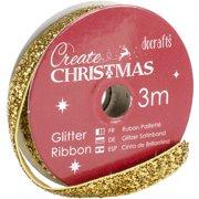 Papermania Create Christmas Glitter Ribbon 3M Spool-Gold