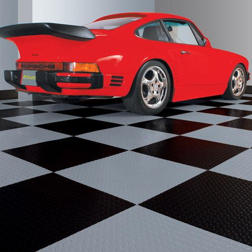 """G-Floor 95 Mil RaceDay Diamond Tread Peel and Stick Tile 24"""" x 24"""" Slate Grey, 10-Pack"""